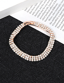 Elegant Rose Gold Round Shape Diamond Decorated Bracelet