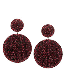 Elegant Red Round Shape Decorated Earrings