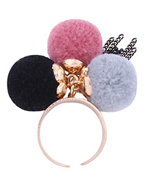 Lovely Multi-color Fuzzy Ball Decorated Pom Ring