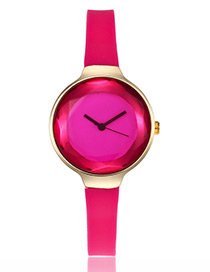 Elegant Plum-red Pure Color Decorated Thin Strap Watch