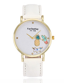 Lovely White Cartoon Patterndecorated Watch