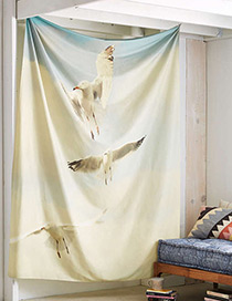 Fashion White Seagulls Pattern Decorated Blanket