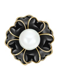 Elegant Dark Gray Flower Shape Decorated Brooch