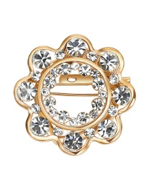 Elegant Gold Color Round Shape Decorated Brooch