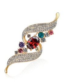 Elegant Multi-color Round Shape Decorated Brooch
