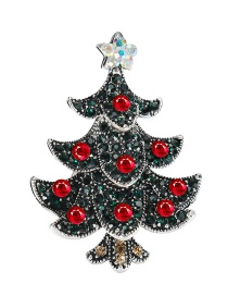 Lovely Brozen+red Christmas Tree Shape Decorated Brooch