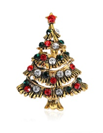 Lovely Brozen+red Christmas Tree Shape Decorated Christmas Brooch