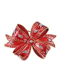 Lovely Red Blwknot Shape Decorated Brooch