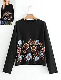 Fashion Black Embroidery Flower Shape Decorated Blouse