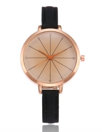 Elegant Black Pure Color Decorated Thin Strap Watch
