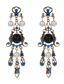 Fashion Antique Gold +blue Flower Shape Decorated Earrings
