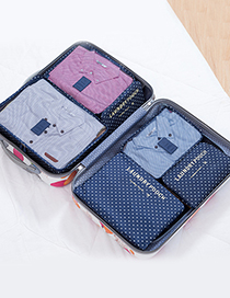 Fashion Dark Blue Spot Pattern Decorated Storage Bag (6 Pcs)