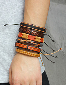 Fashion Brown Pure Color Decorated Bracelet ( 6 Pcs )