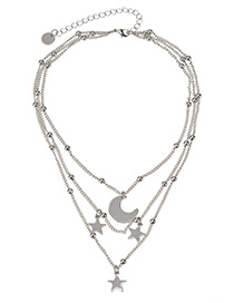 Fashion Silver Color Moon&stat Shape Decorated Necklace