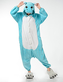 Fashion Blue Hippo Shape Decorated Pajamas