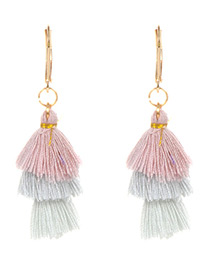 Fashion Pink+white Tassel Decorated Earrings