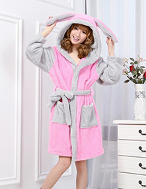 Fashion Pink Rabbite Shape Decorated Nightgown