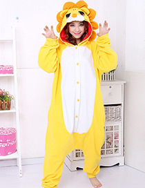 Fashion Yellow Lions Shape Decorated Nightgown