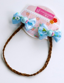 Lovely Blue Hats&bowknots Decorated Child Wig