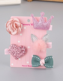 Lovely Pink+green Bowknot&crown Decorated Haipin(5pcs)