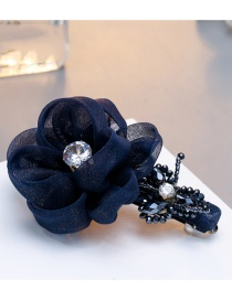 Fashion Navy Diamond&flower Decorated Hairpin