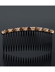 Fashion Coffee Pure Color Decorated Simple Hair Comb
