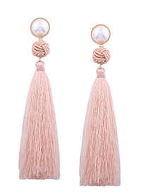 Fashion Light Pink Pearl Decorated Earrings