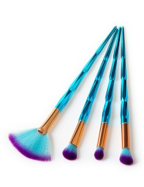 Fashion Sapphire Blue Sector Shape Decorated Makeup Brush (4 Pcs)