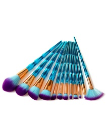 Fashion Sapphire Blue Sector Shape Decorated Makeup Brush (12 Pcs)