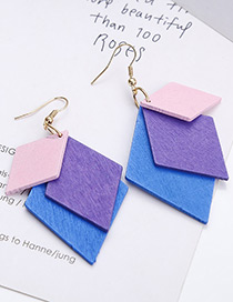 Fashion Pink+purple+blue Square Shape Decorated Earrings