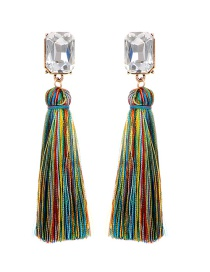 Fashion Multi-color Square Shape Diamond Decorated Tassel Earrings