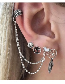 Fashion Silver Color Sun&feather Shape Decorated Earrings (4pcs)