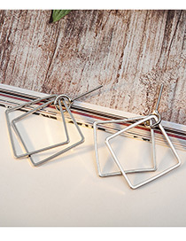 Elegant Silver Color Square Shape Decorated Pure Color Earrings