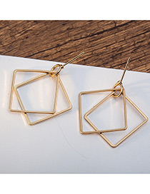Elegant Gold Color Square Shape Decorated Pure Color Earrings