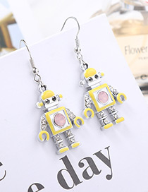 Fashion Yellow Robot Shape Decorated Long Earrings