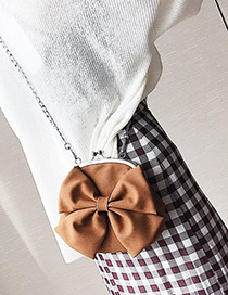 Sweet Coffee Bowknot Decorated Pure Color Shoulder Bag
