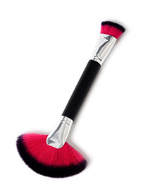 Fashion Red+black Sector Shape Decorated Makeup Brush(1pc)