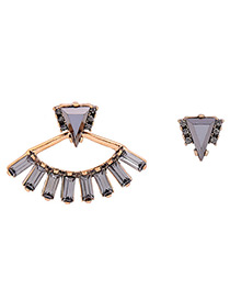 Vintage Gray Geometric Shape Diamond Decorated Asymmetric Earrings