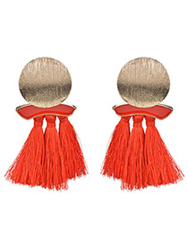 Exaggerated Red Round Shape Design Tassel Earrings