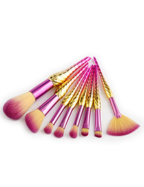 Fashion Yellow+pink Sector Shape Decorated Makeup Brush(8pcs)