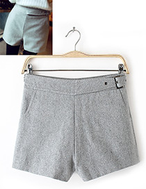 Fashion Gray Pure Color Decorated Simple Shorts