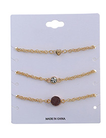 Elegant Coffee Heart Shape&diamond Decorated Bracelet(3pcs)
