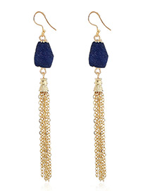 Fashion Dark Blue Chains Decorated Long Tassel Earrings
