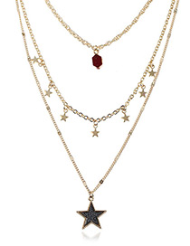 Fashion Dark Red Five-pointed Star Decorated Multi-layer Necklace