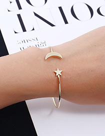 Elegant Gold Color Moon&stars Decorated Pure Color Bracelet
