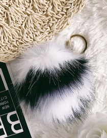 Fashion White+black Fuzzy Ball Decorated Simple Ornaments