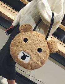 Fashion Khaki Bear Shape Decorated Shoulder Bag