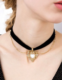 Fashion Gold Color+black Heart Shape Decorated Double Layer Choker