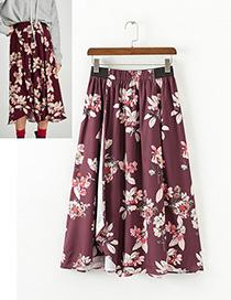 Fashion Claret Red Flower Pattern Decorated Skirt