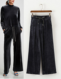 Fashion Gray+blue Pure Color Decorated Long Pants